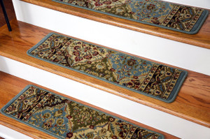 "Dean Premium Carpet Stair Treads - Panel Kerman Cloude Rug Runners 31""W Set of 13"