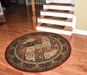 "Dean Premium Carpet Stair Treads - Panel Kerman Claret 31""W - Plus a 5' 3"" Matching Landing Rug"