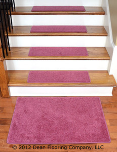 "Dean Flooring Company DIY Carpet Stair Tread Rugs (13) - Pink Plush 27"" X 9"" Plus a Landing Mat"