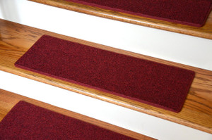 "Dean Non-Slip Tape Free Pet Friendly DIY Carpet Stair Treads/Rugs 27"" x 9"" (15) - Color: Red"
