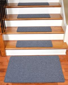 "Dean Serged DIY Carpet Stair Treads 27"" x 9"" - Steel Gray - Set of 13 Plus a Matching 2' x 3' Landing Mat"