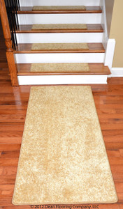 "Dean DIY 30"" x 9"" Premium Carpet Stair Treads (13) Plus a 5' Runner - Color: Softique Straw"