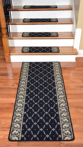 Dean Washable Non-Skid Carpet Stair Treads - Trellis Black (13) Plus a Matching 5' Landing Runner