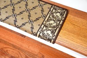 Dean Modern DIY Bullnose Wraparound Non-Skid Carpet Stair Treads - Trellis Beige