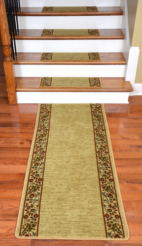 Dean Premium Carpet Stair Treads Talas Floral Beige Plus