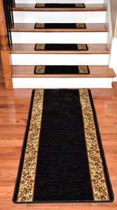 Dean Premium Carpet Stair Treads   Talas Floral Black Plus A Matching 5u0027  Runner