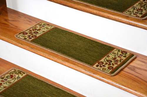 Dean Premium Carpet Stair Treads Talas Floral Green Set