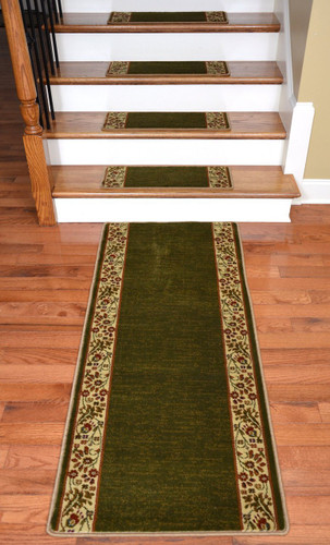 Dean Premium Carpet Stair Treads   Talas Floral Green Plus A Matching 5u0027  Runner