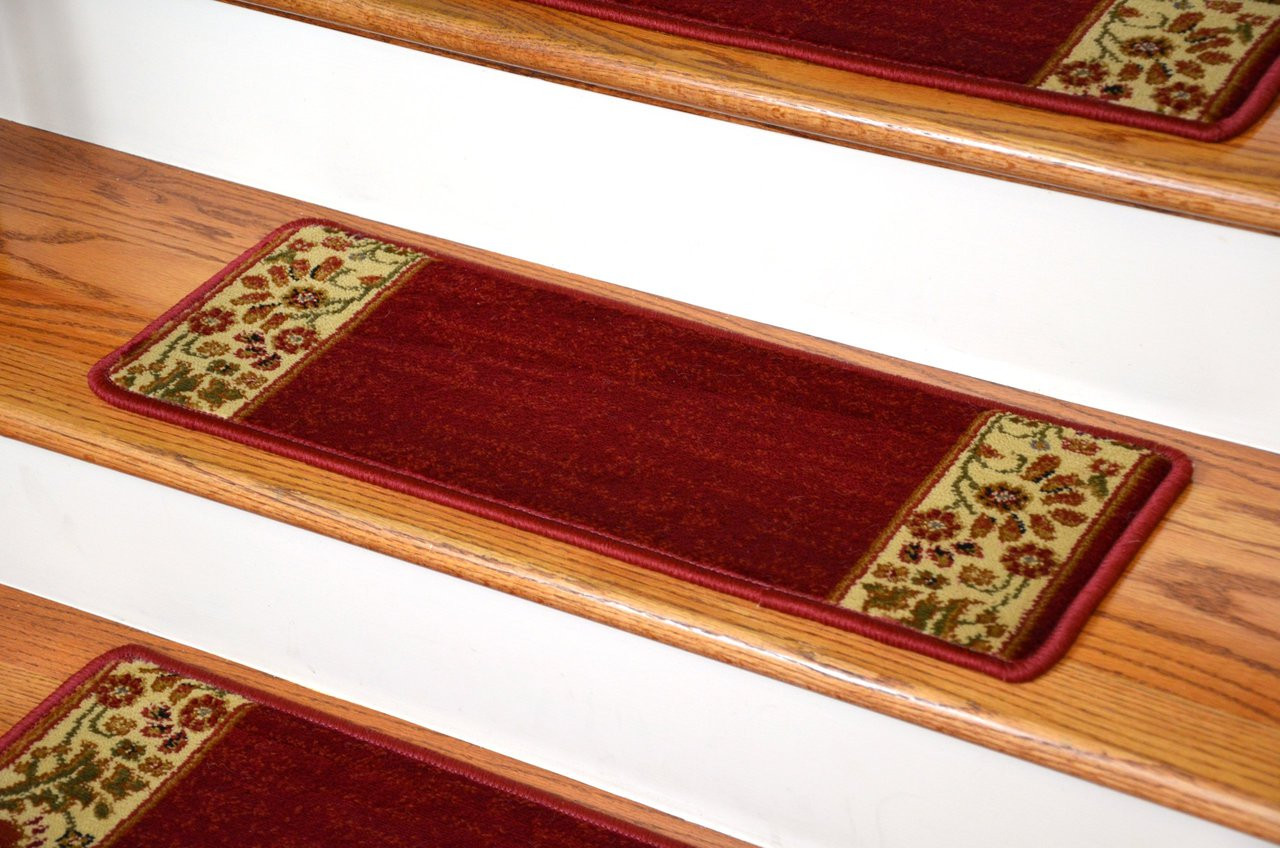 Dean Premium Carpet Stair Treads Set Of 13 Floral Red