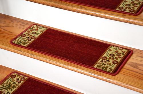 Dean Premium Carpet Stair Treads   Talas Floral Red (Set Of 13)