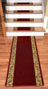 Dean Premium Carpet Stair Treads - Talas Floral Red Plus a Matching 5' Runner