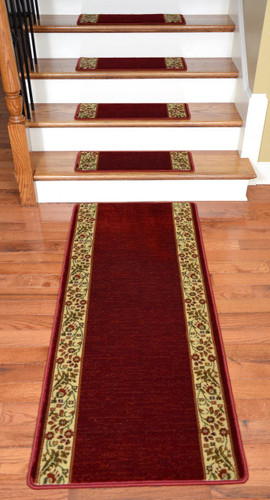 Dean Premium Carpet Stair Treads Talas Floral Red Plus A