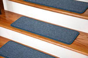 "Dean DIY Peel and Stick Serged Non-Skid Carpet Stair Treads - Teal (13) 27"" x 9"" Runner Rugs"