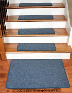 "Dean Serged DIY Carpet Stair Treads 27"" x 9"" - Teal - Set of 13 Plus a Matching 2' x 3' Landing Mat"