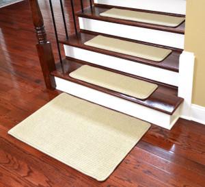 "Dean Premium Wool Blend Non-Skid Carpet Stair Treads/Runner Rugs - Casual Sisal Beige 30"" x 9"" Plus a Matching 2' x 3' Landing Mat"