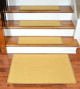 "Dean Non-Slip Tape Free Pet Friendly Stair Gripper Natural Fiber Sisal Carpet Stair Treads - Madagascar Basketweave Tropical Gold 29""W (15) Plus a Matching 2' x 3' Landing Mat"