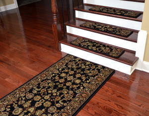 "Dean Premium Carpet Stair Treads - Elegant Keshan Ebony 31"" x 9"" (Set of 15 Plus a Matching 5' Runner)"
