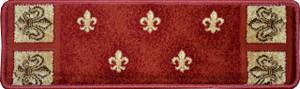 "Dean Premium Carpet Stair Treads - Red Fleur-De-Lys 31"" x 9"" (Set of 13)"