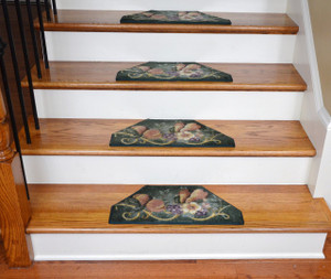 Washable Non-Skid Carpet Stair Treads - Green Fruit Cornucopia (13)