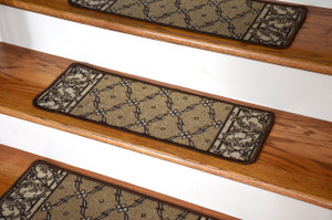 Dean Washable Non-Skid Carpet Stair Treads - Trellis Beige (13)