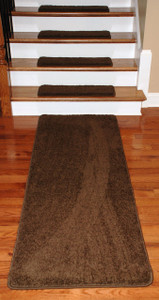 "Dean Premium Serged DIY Carpet Stair Treads 27"" x 9"" Timberline 70 Oz (13) PLUS a Matching 6' Runner"