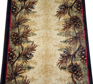 Dean Mt. Le Conte Pine Cone Lodge Cabin Carpet Rug Hallway Stair Runner - Custom Lengths - Purchase by the Linear Foot
