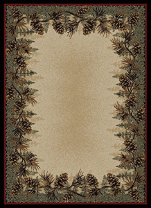 "Dean Mt. Le Conte Pine Cone Lodge Cabin Cottage Area Rug 7'10"" x 9'10"" (8x10)"