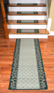 Dean Washable Non-Skid Carpet Stair Treads - Hunter Green Scroll Border (Set of 15) Plus a Matching 5' Runner