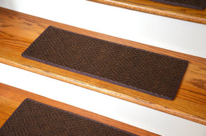 "Dean Indoor/Outdoor Pet Friendly Tape Free Non-Slip Carpet Stair Step Treads - Contour Brown 23"" x 8"" (15)"