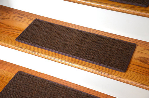 Dean Indoor Outdoor Pet Friendly Tape Free Non Slip Carpet Stair Step Treads Contour Brown 23