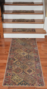 Premium Carpet Stair Treads - Multicolor Panel (13) PLUS a Matching 5' Runner