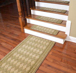 Dean Premium NZ Wool Non-Slip Carpet Stair Treads - Marquis Honey (Set of 13) Plus a Matching 5' Landing Runner