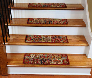 Dean Premium Carpet Stair Treads - Panel Red 13 Pack