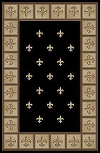 """Dean Black Fleur-De-Lys Carpet Area Rug 5'3"""" x 7'7"""" (5x8)"""