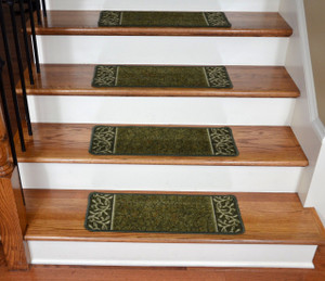 Dean Washable Non-Skid Carpet Stair Treads - Garden Path Green (13)