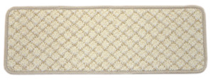 "Dean Beige Diamond Trellis Pet Friendly Dog Helper Tape Free Non-Slip Carpet Stair Step Treads/Runner Rugs - 27"" x 9"" (15)"