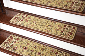 "Dean Non-Slip Pet Friendly Carpet Stair Step Cover Treads - Classic Keshan Gold 31""W"