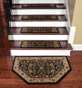 "Dean Premium Carpet Stair Treads - Classic Keshan Ebony 31"" W (Set of 15) Plus a Matching Landing Hearth Mat 27"" x 39"" (2x3)"