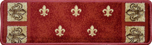 "Dean Non-Slip Pet Friendly Carpet Stair Step Cover Treads - Red Fleur-De-Lys 31""W (15)"