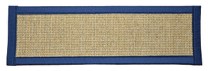 "Dean Desert/Navy Blue Non-Slip Tape Free Pet Friendly Stair Gripper Natural Fiber Sisal Carpet Stair Treads -  29""W (Set of 15)"