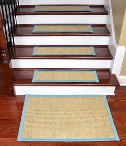 "Dean Desert/Aqua Non-Slip Tape Free Pet Friendly Stair Gripper Natural Fiber Sisal Carpet Stair Treads -  29""W Set of 15 Plus a Matching 2' x 3' Landing Mat"