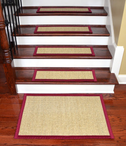 "Dean Desert/Red Non-Slip Tape Free Pet Friendly Stair Gripper Natural Fiber Sisal Carpet Stair Treads -  29""W Set of 15 Plus a Matching 2' x 3' Landing Mat"