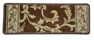 Dean Premium Non-Skid Carpet Stair Treads - Brown Scrollworks II - 15 Pack