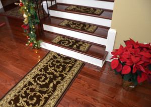 Dean Premium Non-Skid Carpet Stair Treads - Brown Scrollworks II - 15 Pack PLUS a Matching 5 Foot Long Landing Runner