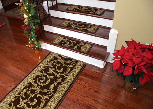 Dean Premium Non Skid Carpet Stair Treads Brown