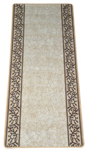 Dean Washable Carpet Rug Runner - Garden Path Beige - 26 Inches Wide by 5 Feet Long