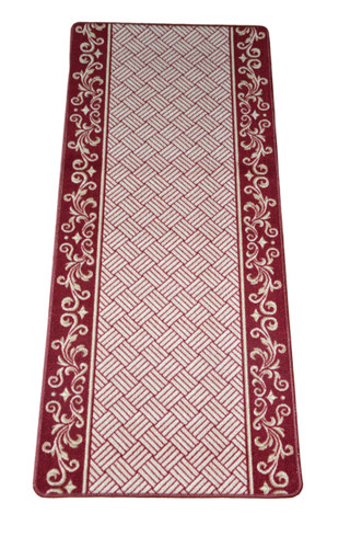 Dean Washable Carpet Rug Runner Cranberry Scroll Border