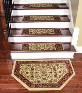 "Dean Tape Free Pet Friendly Non-skid Stair Gripper Premium Carpet Stair Treads - Classic Keshan Antique Beige 31"" W (Set of 15) Plus a Matching Landing Hearth Mat 27"" x 39"" (2x3)"