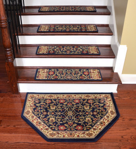 "Dean Tape Free Pet Friendly Non-skid Stair Gripper Premium Carpet Stair Treads - Classic Keshan Navy Blue 31"" W (Set of 15) Plus a Matching Landing Hearth Mat 27"" x 39"" (2x3)"