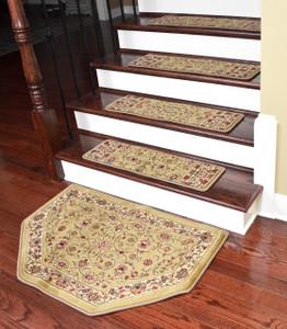 "Dean Tape Free Pet Friendly Non-skid Stair Gripper Premium Carpet Stair Treads - Classic Keshan Gold 31"" W (Set of 15) Plus a Matching Landing Hearth Mat 27"" x 39"" (2x3)"